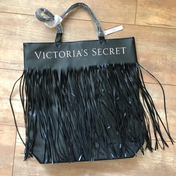Victoria's Secret Handbags - Victoria's Secret Black Fringe Bag Tote/NWT